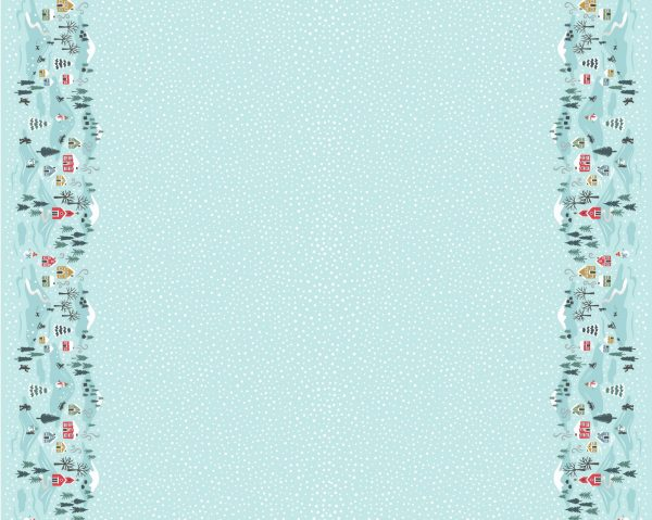 Snow day double border icy blue