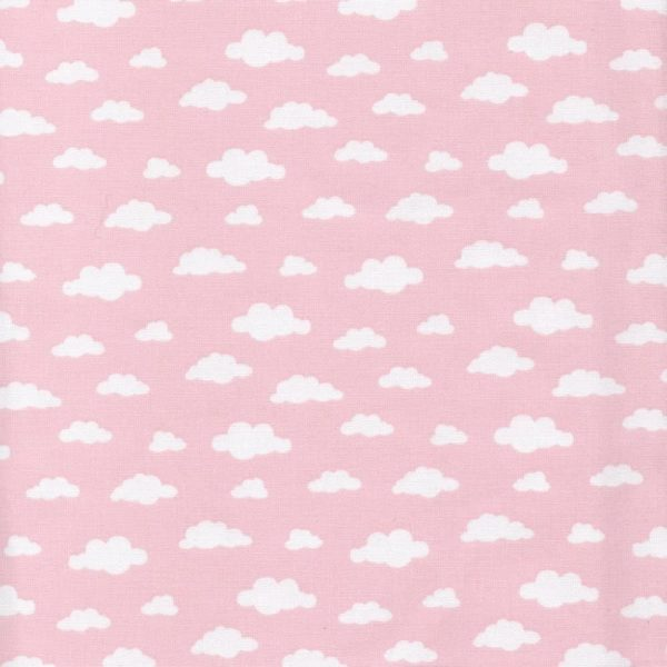pink clouds cotton fabric