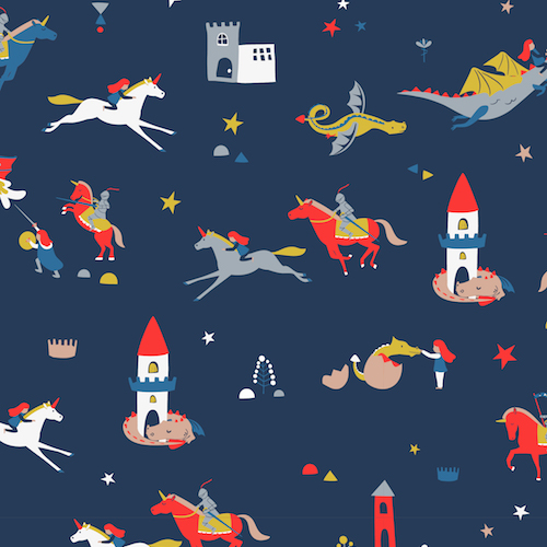 knights and castles cotton fabric