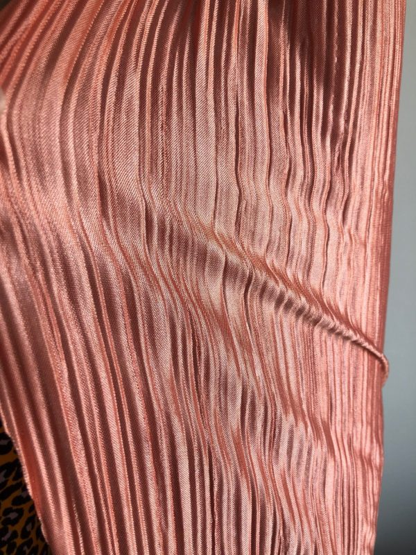 pleated stretch fabric coral