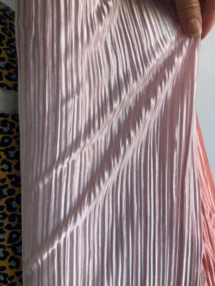 pink satin pleated jersey