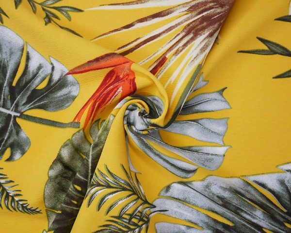 yellow floral crepe fabric