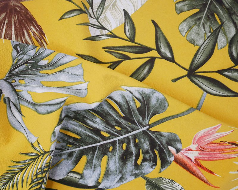 yellow leaves crepe fabric