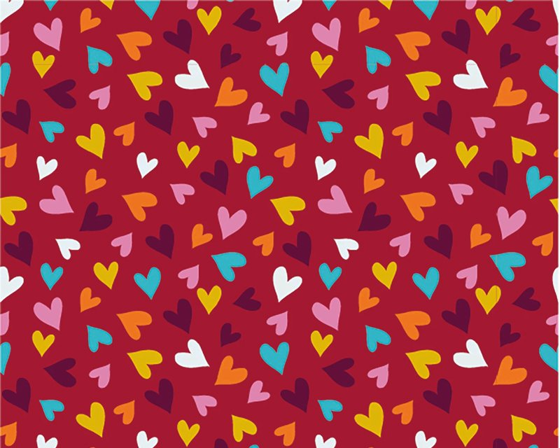 red hearts jersey fabric