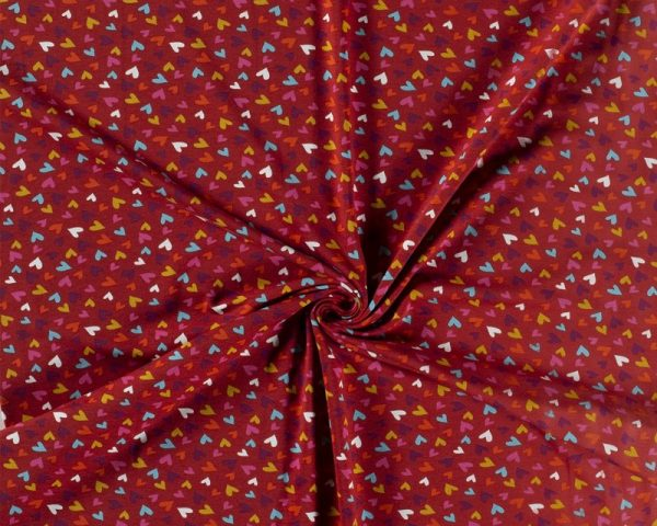 red hearts cotton lycra