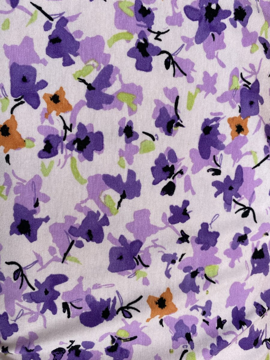 purple and white floral jersey viscose