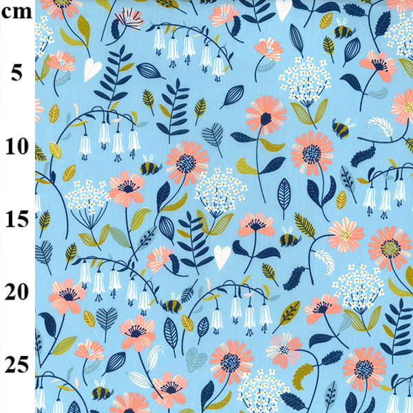 peach and blue floral cotton