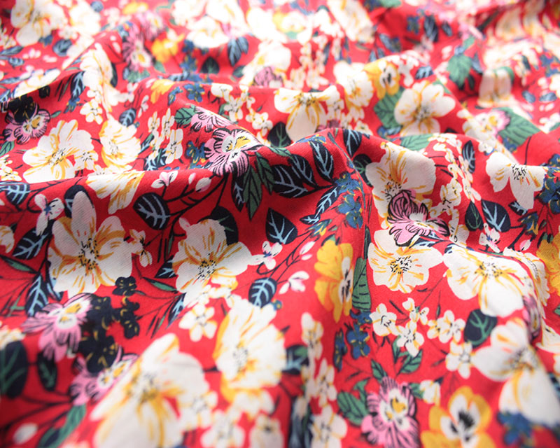Cotton lawn red floral