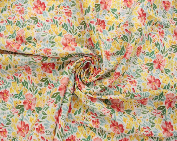 Yellow floral lawn fabric