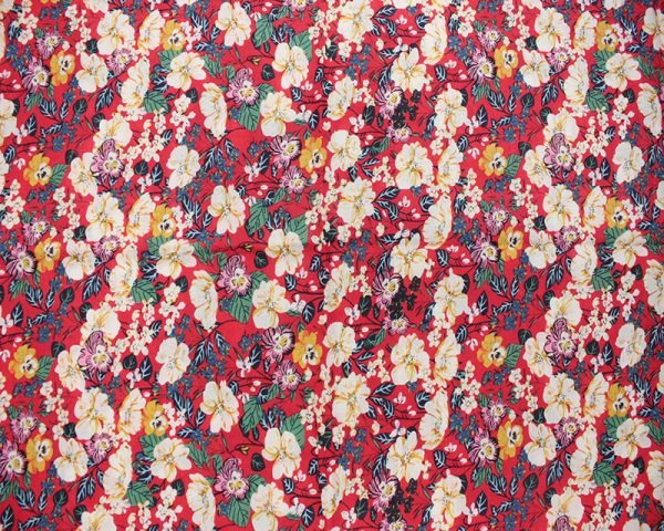 Red floral lawn