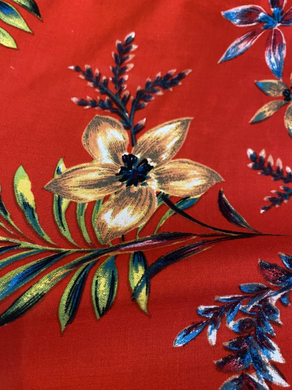 Red floral viscose